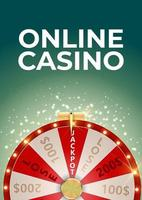 Online Casino Background Poster with Wheel of Fortune Lucky Icon vector