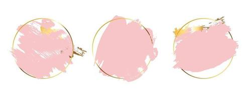 Circle Rose Gold frame with pink splash paint background vector