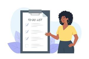 Checklist young woman puts check marks in front of completed tasks vector