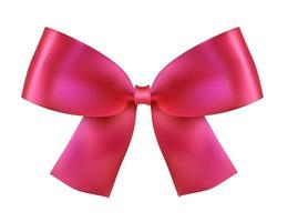 Realistic Pink Silk Bow on white vector
