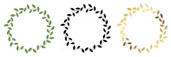 Laurel wreath Collection set isolated on white vector