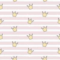 lindo, princesa, corona, seamless, patrón, plano de fondo vector