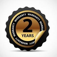 Gold vector guarantee sign 2 years warranty label