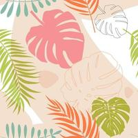 Tropical Monstera Palm leaves trendy seamless pattern background vector