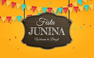Fondo de festa junina con banderas del partido Fondo del festival de junio de Brasil para la invitación de la tarjeta de felicitación en vacaciones vector
