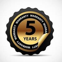 Gold vector guarantee sign 5 years warranty label