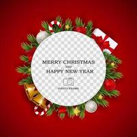 Merry Christmas and Happy New Year Photo Frame Template vector