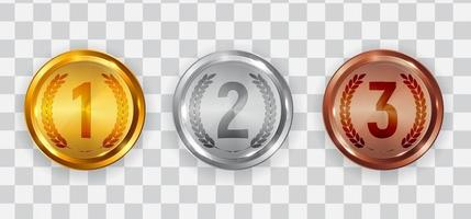Gold silver and bronze medal Badge icons of First second and third place vector