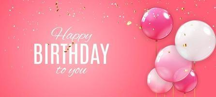 feliz cumpleaños fondo con globos vector
