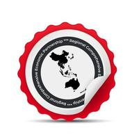 Badge sign with the Modern Regional Comprehensive Economic Partnership RCEP map vector