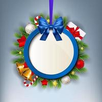 Merry Christmas and New Year Circular Hanging Frame with Holiday Elements vector