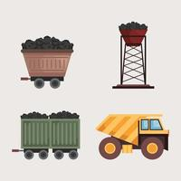 four mine industry icons vector