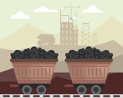 wagons in mine vector