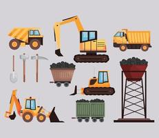 eleven mine industry icons vector