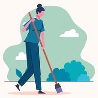 cleaning lady sweeping scene vector