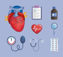 ocho iconos de hipertensión vector
