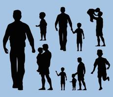 fathers and kids silhouettes vector