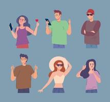 six influencers characters vector