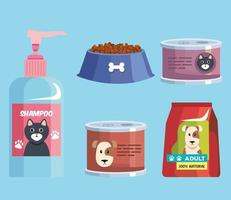 five pet shop icons vector