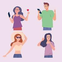 influencers four characters vector