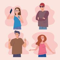 four influencers characters vector