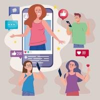 four influencers in smartphone vector