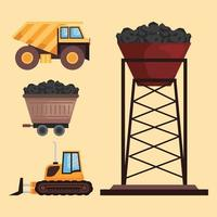 mine industry four icons vector