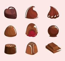 nine chocolate products vector