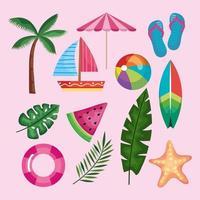 twelve summer icons vector