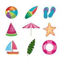 nine summer icons vector