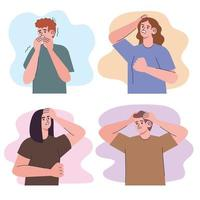 four irritated people vector