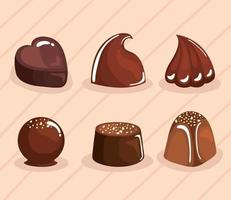 six chocolate products vector