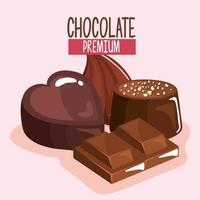 chocolate premium products vector