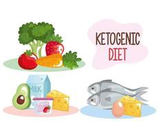 keto dieting icons vector