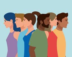 interracial six characters vector