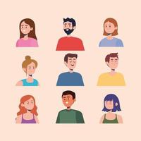 nine persons characters vector