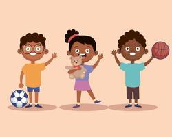 afro kids characters vector