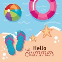hellow summer message vector