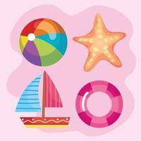 four summer icons vector