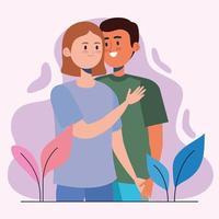 interracial lovers couple vector