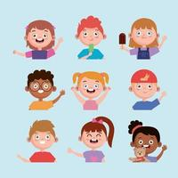 interracial nine kids vector