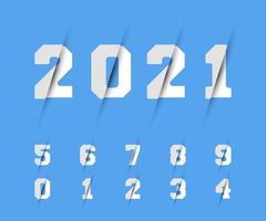 Set of numbers 0 1 2 3 4 5 6 7 8 9 razor design Vector illustration