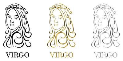 virgo zodiac black gold silver vector