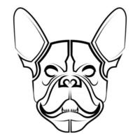 Black and white line art of french bulldog head vector