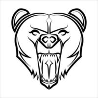 Black and white line art of bear head vector