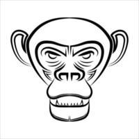 arte lineal en blanco y negro de la cabeza del chimpancé vector