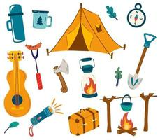 Set of camping items Big set of tourist items for vacation Luggage icons for travel and hike Collection of objects and accessories for outdoor recreation Outdoor activity Summer recreation vector