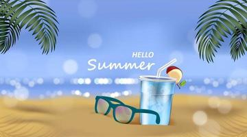 Sea sunlight and bokeh with cocktail and Sunglasses on beach background Summer concept vector