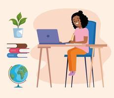 afro schoolgirl online vector