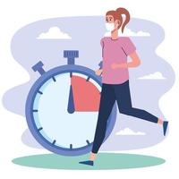 female athlete running with chronometer fitness lifestyle vector